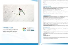 Finnish Team, European Youth Olympic Festival Brasov, Romania 2013, esitteen taitto (sivukoko A5, sivumäärä 36)